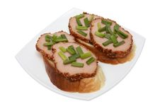 Free Sandwiches With A Green Onions Stock Photography - 3795442
