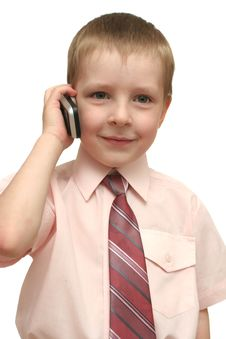 Free The Nice Boy Speaks By Phone Royalty Free Stock Photography - 3796907