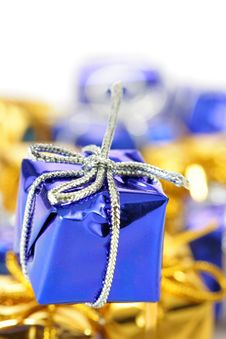 Free Blue Gift Box Close-up Royalty Free Stock Images - 3797639