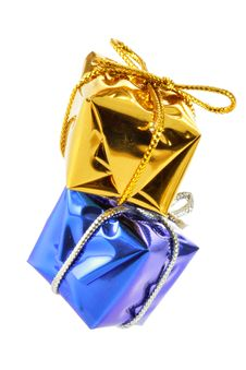 Free Golden And Blue Gift Boxes Royalty Free Stock Images - 3797709