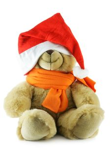 Free Teddy Bear With Big Santa Hat Royalty Free Stock Photography - 3797807
