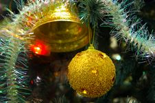 Free Golden Christmas Ball Hanging On Branch Royalty Free Stock Image - 3798276