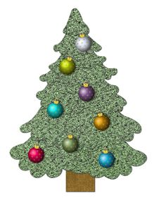 Free Sewed Christmas Tree With Balls Stock Photos - 3798473