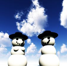 Free Two Snowman On Ice Stock Image - 3798851