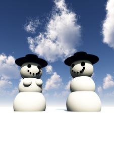 Free Two Snowman On Ice 2 Royalty Free Stock Photo - 3798865