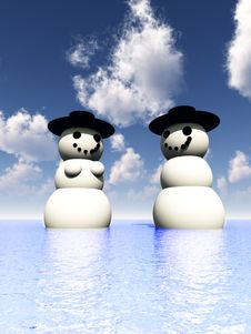 Free Two Snowman On Holiday In The Water 9 Royalty Free Stock Photo - 3799125