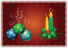 Christmas Balls End Candles Royalty Free Stock Photos