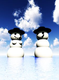 Free Two Snowman On Holiday In The Water 9 Royalty Free Stock Photography - 3799217
