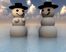 Free Two Snowman On Holiday In The Water 25 Royalty Free Stock Photo - 3799435
