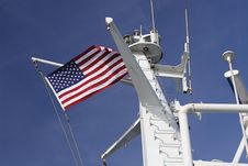 Us Flag Flying On Ferry Boat Stock Photo
