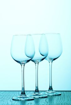 Free Three Bluewine Glasses Royalty Free Stock Images - 380879