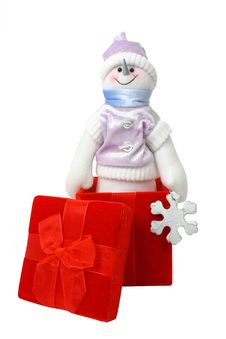 Free Snowman In A Gift Box Stock Image - 384551