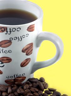 Free Coffee Cup And Beans Stock Photo - 384980