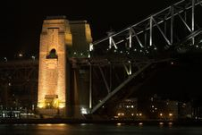 Free Sydney Harbour Bridge At Night Royalty Free Stock Image - 385236