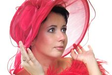 Free Lady In Red Hat Stock Photography - 389662