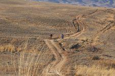 Bikers In Desert Road Stock Images