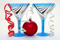 Free Close Up Of A Blue Glass And New Years Ball Royalty Free Stock Photo - 3803785