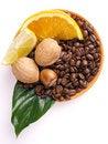 Free Coffee Beans Oranges, Lemon Royalty Free Stock Photography - 3804057
