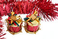 Free Two Christmas Decorations With Red Tinsel Stock Images - 3809644