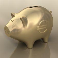 Sign Euro Gold Piggy Stock Photo