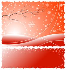 Free Winter Background With Snowflakes - Red Version Stock Image - 3801881