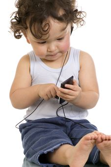 Free Child With Mp 3 Player. Stock Photo - 3801950