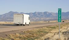 Free Truck Driving Towards Mountains. Stock Image - 3802331