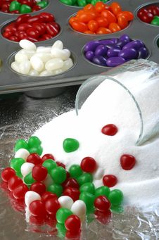 Christmas Candy And Spilled Sugar Royalty Free Stock Images
