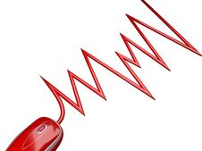Free Red Mouse Connected By A Cable Stock Photo - 3803470