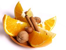 Oranges, Lemon, Cinnamon Stock Photo