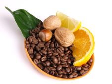 Free Coffee Beans Oranges, Lemon, Royalty Free Stock Photo - 3804045