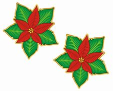 Free Christmas Poinsettia Sticker Royalty Free Stock Image - 3804186