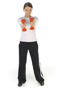 Free Beauty With Orange Dumbbells Stock Photos - 3805613