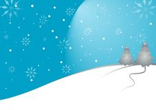 Christmas Landscape With Moon Stock Image