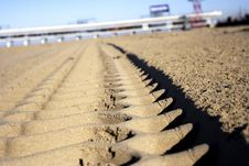 Free Track In The Sand Royalty Free Stock Photos - 3805818
