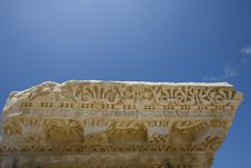Free Frieze Of A Roman Column Caesarea Royalty Free Stock Photos - 3807078