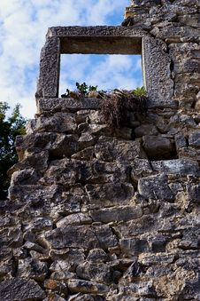 Stone Window - Ruins Stock Image