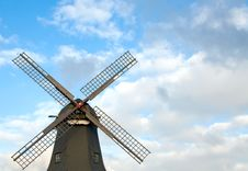 Old Windmill Against Blue Sky Royalty Free Stock Photo