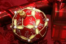 Red Christmas Ball And Gift Box Royalty Free Stock Photo