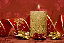 Free Golden Candle On Red Royalty Free Stock Images - 3808569