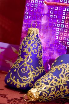 Violet Christmas Bells Royalty Free Stock Photo