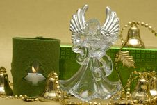 Angel With Candle And Gift Box Royalty Free Stock Photography