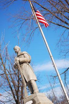 Civil War Soldier & Flag Royalty Free Stock Photos