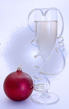 Free Glass Of Champagne And New Years Ball Iced-up Royalty Free Stock Photo - 3809245