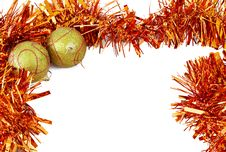 Free Two Christmas Baubles With Bright Orange Tinsel Royalty Free Stock Image - 3809656