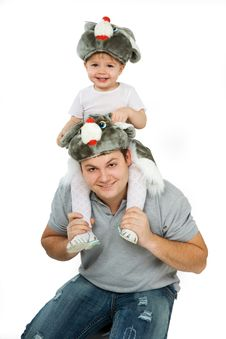 Free On The Dad S Shoulders Royalty Free Stock Photos - 3810778