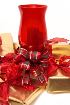 Gifts Around A Candle Royalty Free Stock Photos