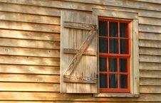 Free Red Window In A Weathered Wood Building Royalty Free Stock Image - 3814376