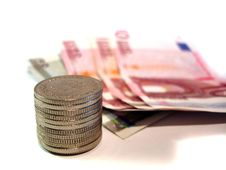 Free Coins And Euro Bills Stock Image - 3816921