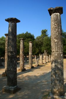 Temple Pillars In Olympia Royalty Free Stock Images